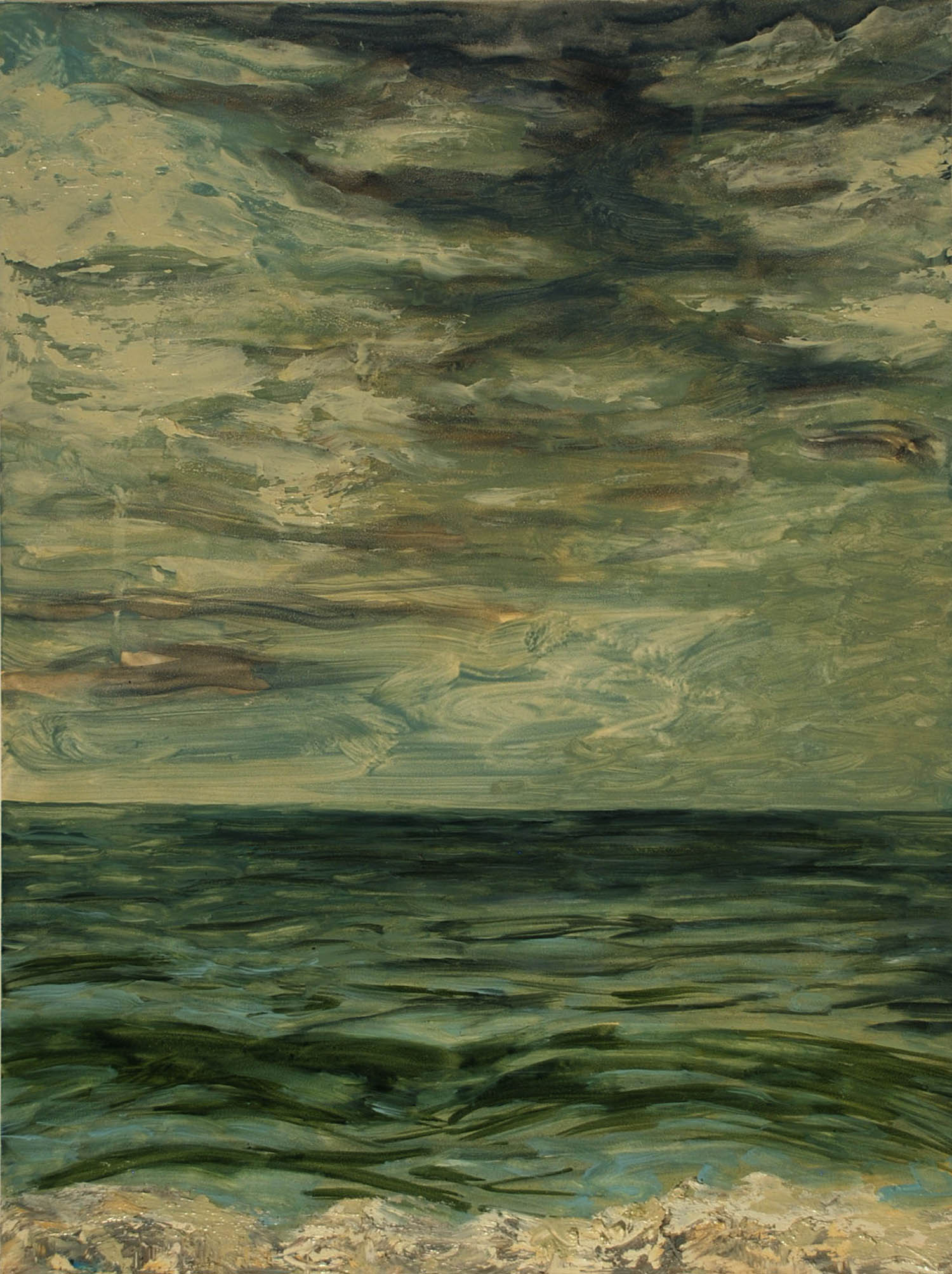 Gray Day, Green Waves, oil on panel