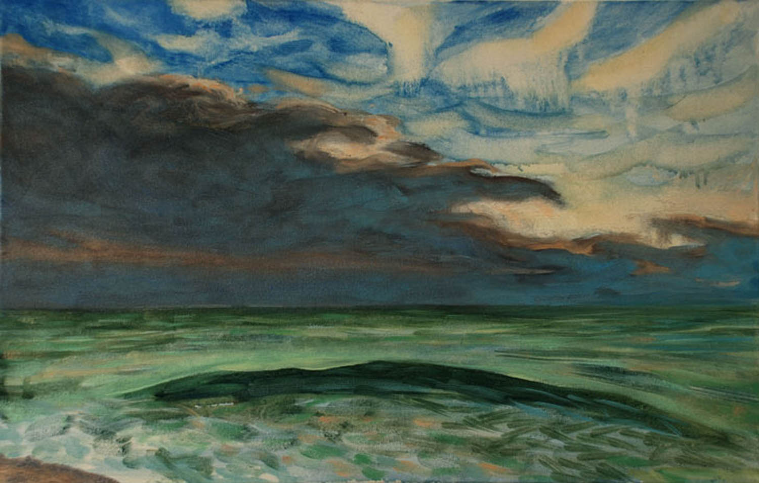 Storm at Seaside, Green Wave, oil on canvas