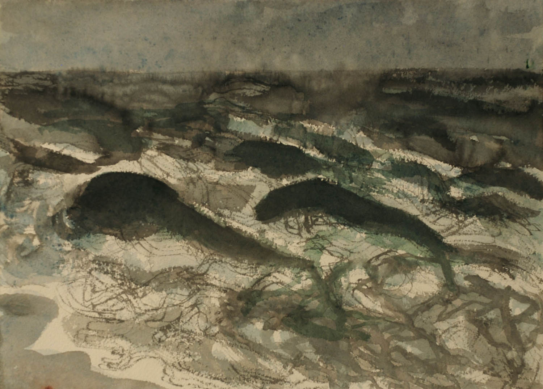 Angry Ocean, Boca, ink and watercolor