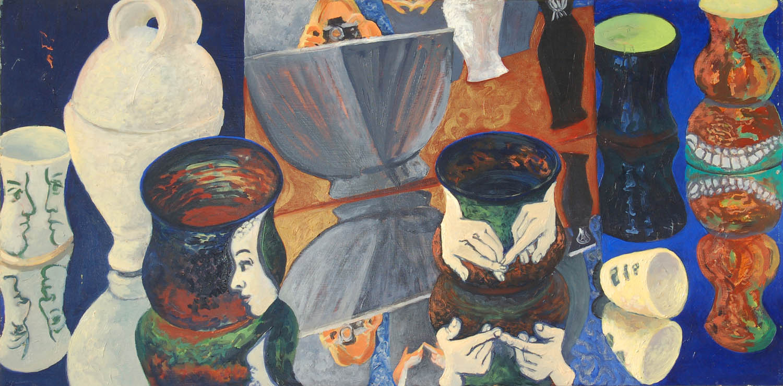 Pots on Blue, oil on wood