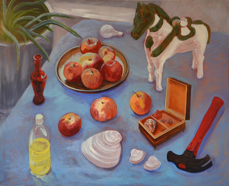 Apples, oil on wood