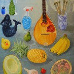 Bananas, oil on wood