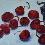 Cherries, oil on wood