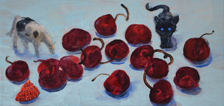 Cherries, oil on wood