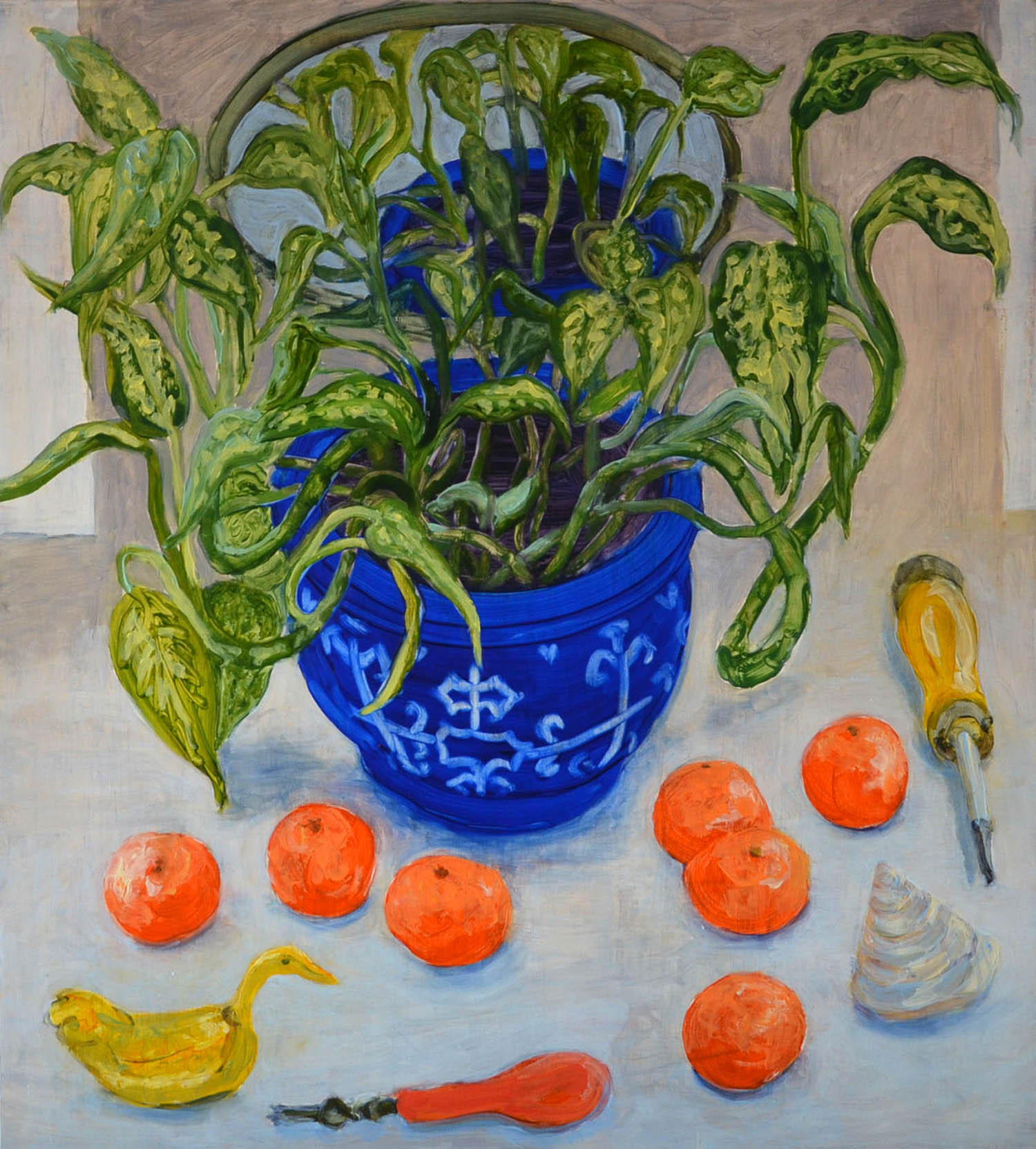 Clementines, oil on wood