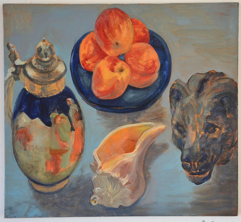 Peaches, oil on linen